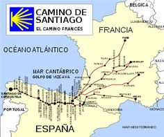 The Camino Francés dates to the Middle Ages, threading across France through the north of Spain to the cathedral in Santiago de Compostela, where the remains of St. James supposedly are interred. Camino Walk, Camino Trail, The Camino, Camino Routes, Map Of Spain, Gothic Cathedral, St Jacques, Pamplona, Saint James