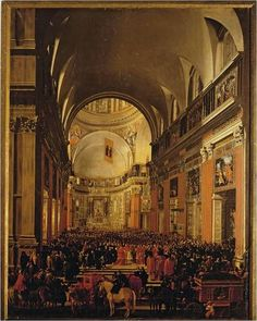 Andrea Sacchi (1599-1667), Filippo Gagliardi (died in 1659) and Jan Miel (1599-1663)  Pope Urban VIII visits the Il Gesù church in Rome on 2 October 1639 to celebrate the 100th anniversary of the founding of the Jesuit order 1640/41  Oil on canvas  11 feet x 8 feet 2 inches  Galleria Nazionale d'Arte Antica, Rome