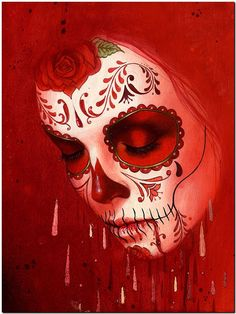 Day of the Dead Sugar Skull Red High Quality Canvas Print Drawing Photo Wall Art Day of the Dead Sugar … Day Of The Dead Drawing, Day Of The Dead Artwork, Day Of The Dead Girl, Day Of The Dead Skull, Skull Girl Tattoo, Sugar Skull Tattoos, Tatoo Art, Sugar Skull Girl, Sugar Skull Makeup