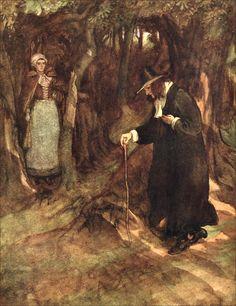 "27.  ""She beheld the minister advancing.""    ——    Hugh Thomson Illustrations: The Scarlet Letter"
