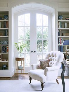 Library - A space filled with natural light. A space that enlightens. I dream of a bright and sophisticated library that would feature plenty of elegant shelving for not only my book collection, but also for memorabilia from different parts of the world to remind me of where I've been and where I hope to one day be.
