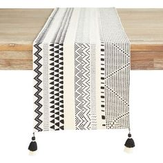 Desert Black & Cream Table Runner with Tassels Linen Tablecloth, Table Linens, Lace Table Runners, Table Toppers, Home Textile, Black Cream, Home Accessories, Bedroom Decor, Tassels