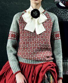 Ravelry: Pullover with Geometric Patterns pattern by Yoko Hatta (風工房) Crochet Cardigan, Knit Crochet, Knitting Designs, Knitting Patterns, How To Purl Knit, Fair Isle Knitting, Knit Fashion, Pulls, Knitwear