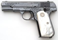Colt Pistols and Revolvers for Firearms Collectors - Model 1903 .32 ACP & Model 1908 .380 ACP Pocket Hammerless Factory Inscribed Pistols