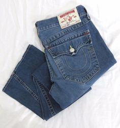 True Religion Jeans 36 x 34 Joey Blue Twisted Flared Authentic Cotton Denim USA #TrueReligion #Flare