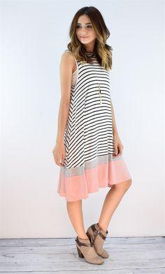 Sleeveless Striped Summer Dress | Small - XL