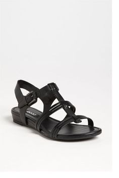 d4a4e15d674 ECCO ODENSE SANDALS 42 11 11.5 Black Strappy Low Wedge Heel Comfort Shoes  Tstrap