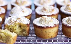 Orange and poppy seed friands recipe. Orange and poppy seeds is a classic combination for friands, you can liven it up by using mandarin instead. Orange Recipes, Almond Recipes, Sweet Recipes, Baking Recipes, Dessert Recipes, Mini Desserts, Cupcake Recipes, French Desserts, Frosting Recipes