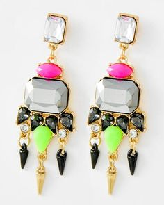 Gold Tone / Multi Color Acrylic & Hematite Glass / Lead Compliant / Chandelier / Post Earring Set