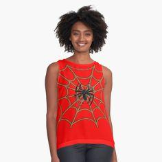 'Red Spider Man Web ' Sleeveless Top by WackyJacks Women's Summer Fashion, Fashion 2020, Edgy Dress, Red Flowers, Refashion, Latest Fashion For Women, Women's Fashion Dresses, Chiffon Tops, Sleeveless Tops