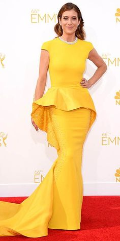 Emmy Awards 2014. Evening/cocktail dresses are even trickier for tall women if you're wearing heels.  More height to think about. I would not go mono-color/mono-texture, as with this dress, and I'd especially not use such a strong color if I did.