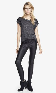 maybe? QUILTED ZIPPER ACCENT SCUBA LEGGING | Express #express