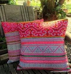 Bright colorful Hmong embroidery & batik pillow, cushion cover.