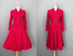Vintage 50s Red Scottish Wool Suit // Small by OffBroadwayVintage