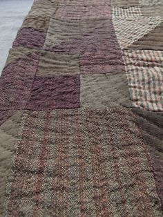 Antique Wool Quilt / Brown and Plum Early Quilt / by akaATA