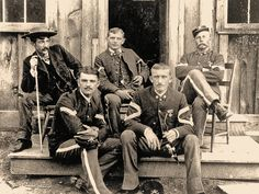 Montana's Fort Keogh offered certain creature comforts, such as the post sutter or post exchange, where soldiers such as these infantrymen, including the 20th Infantry sergeant major (the top soldier for a regiment), could enjoy a smoke, light fare or even a beer.  – Courtesy National Archives and Records Administration –