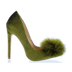 EGO FUR POM OLIVE ($41) ❤ liked on Polyvore featuring shoes, pumps, olive green shoes, retro shoes, army green shoes, pointed toe pumps and synthetic shoes
