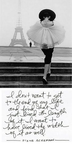 Diane Ackerman quote with Eiffel Tower Paris Picture