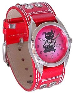 Beyond Women's Sexy Kitty Cat Heart Watch - Red Studded Leather Cuff Band This is one of the most fun pieces of cat jewelry for women. You will appreciate this currently popular trending piece of jewelry is the eiptome of cute, sohptisticated and sexy.  Additionally you will appreciate how unique and eye catching these cat jewelry pieces are.  You can easily spruce up your wardrobe by adding a cute cat necklace, cat ring, cat earrings, cat bracelet or cat watch