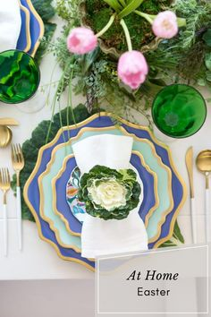 At Home Easter. Easter Tablescapes. Easter Decor. Easter Table Settings Easter Table Decor. Easter Tablescape Inspo. Easter At Home. Easter Table Settings, Easter Table Decorations, Easter Decor, Tulip Table, Hoppy Easter, Spring Green, Tablescapes, Home Decor, Cabbage