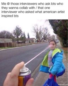 This makes me so mad when they do this. BTS are Korean not everything is about America why don't you start asking them stuff about other kpop groups instead of American artists (I have every right to say this because I'm American myself)