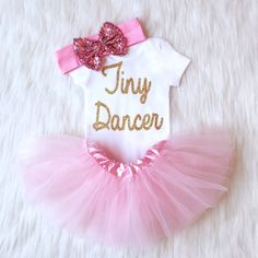 Sparkly Outfit for the Tiny Dancer in your life. Paired with our light pink TuTu and sparkly bow, it\'s the perfect outfit for any baby girl.  Always a hit at every baby ... #ballerina #ballet