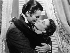 Clark Gable and Vivien Leigh black and white movie kiss Gone with the Wind Foto