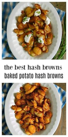Leftover Baked Potatoes make the BEST Baked Potato Hash Browns. They fry up fast and are golden, brown and delish, all crunchy outside and soft inside! You'll want to make extra baked potatoes just so you have some leftover to make these. Leftover Baked Potatoes, Crispy Baked Potatoes, Best Baked Potato, Baked Potato Recipes, Fried Potatoes, Breakfast Potatoes, Breakfast Casserole, Breakfast Recipes, Eat Breakfast