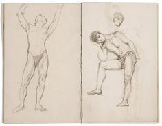 """Helen McNicoll, """"Sketch of Male Nudes"""" from Large Sketchbook, c. 1902, twenty-three loose folios from bound sketchbook, with graphite and conte on laid paper, each page: 20.3 x 13 cm, Art Gallery of Ontario, Toronto. #ArtCanInstitute #CanadianArt"""
