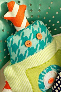 robot stuffy. love the fun fabrics!