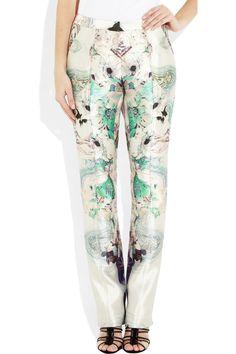 PRABAL GURUNG  Printed wool and silk-blend straight-leg pants