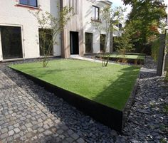 Wilrijk Garden by Vertus The design language is immediately obvious in all their projects, with strong geometries, solid elements surrounded by loose gravel or stone, and thin elegant edges.