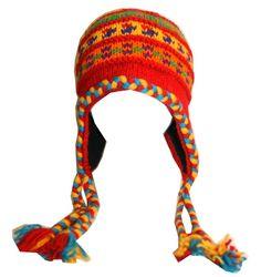 NEW HAND KNITTED PERUVIAN WOOL FLEECE LINED NEPAL HAT CAP BEANIE BOYS GIRLS
