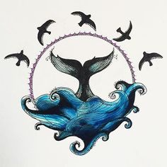Circle Drawing - Whale and Waves - Ellen McCrimmon Smal Tattoo, Circle Drawing, Symbol Tattoos, Whale Tattoos, Desenho Tattoo, Ocean Art, Cool Drawings, Blackwork, Art Inspo