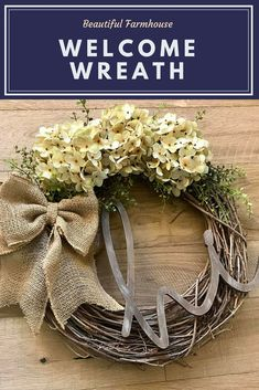 Love this pretty wreath for a front door. So simple and perfect farmhouse style. #affiliate #wreath #homedecor #farmhouse #farmhousedecor #entryway #frontdoor #welcome