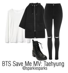 """BTS Save Me MV: Taehyung"" by sparkiesparks on Polyvore featuring Madden Girl, Gap, Monki, Topshop, cute, outfit, love, kpop and bts"