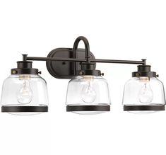 Globe Electric Nate Oil Rubbed Bronze Vanity Light With Clear Glass Shades and Bath Set 51496 - The Home Depot Wall Lights, Light, Mirror With Lights, Bronze Kitchen Faucet, Glass, Lighting, Bath Vanity Lighting, Lights, Bathroom Lighting