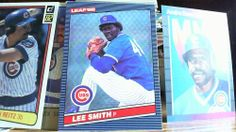 LEAF 1986 LEE SMITH CARD# 64 CUBS (FREE CUBS REFLECTIVE STICKER)