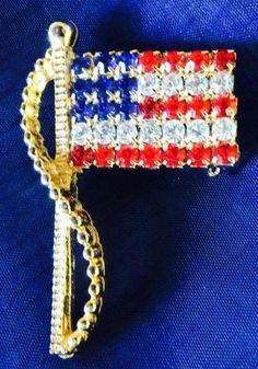 Alex & Ani Vintage Rhinestone American Flag Pin Brooch Prong Set Patriotic EUC #AlexAni http://www.ebay.com/itm/161349115972?ssPageName=STRK:MESELX:IT&_trksid=p3984.m1555.l2649