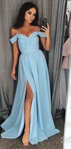 6e42f4a2bc24d Off the Shoulder Simple Long Prom Dresses Side Slit Formal Dress APD3349