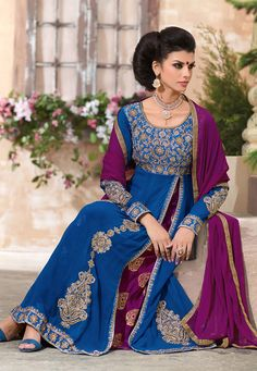 Blue and Magenta Faux Georgette Anarkali Double Layer Churidar Kameez: KYU44
