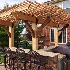 This Image Features A Pergola, Built Over A Patio Grill, Made With Post To