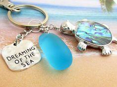 Sea Turtle Keychain Sea Glass Keychain Beach by EarthlieTreasures