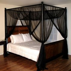 Casablanca Palace Four-Poster Bed Canopy, Black Bed Canopy With Lights, Black Canopy Beds, Canopy Bed Curtains, Kids Bed Canopy, Canopy Bedroom, Bed Lights, Room Ideas Bedroom, Home Bedroom, Bedroom Decor