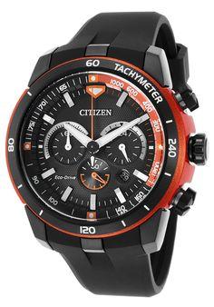 Citizen CA4154-15E Watches,Men's Ecosphere Chronograph Black Polyurethane & Dial Orange Case, Sport Citizen Solar Watches