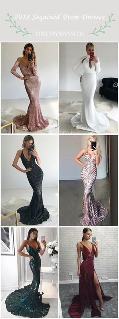 You'll find plenty of unique styles, cuts, fabrics, and dress lengths to choose from. Dressywomen large assortment of prom dresses for 2018 includes everything from sophisticated long prom dresses to short party dresses for prom. #sequineddress #promdress