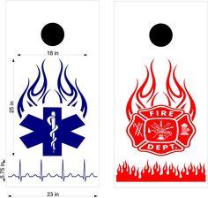 Fire EMS EMT Fireman Fighter Cornhole Vinyl Decal Sticker Graphic Custom Text FP1546