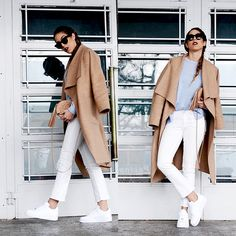 Zara Camel Oversized Coat, H&M White Jeans, Nike Air Force 1 White, Gucci Soho Mini Bag, Céline Sunglasses