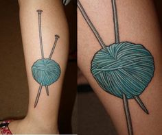 21 Beautiful Sewing And Knitting Tattoo Designs - TattooBlend Knitting Tattoo, Yarn Tattoo, Crochet Tattoo, Knitting Yarn, Leg Tattoos, Cool Tattoos, Sewing Tattoos, World Tattoo, Hand Poke