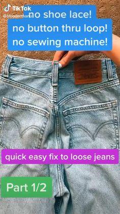 Diy Clothes Life Hacks, Diy Clothes Videos, Clothing Hacks, Hemming Jeans, Hem Jeans, Diy Clothes Design, Diy Fashion Hacks, Loose Jeans, Looks Chic